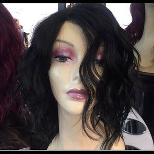 Accessories - Wig bob Short Wavy Wig Black Lacefront hair blende